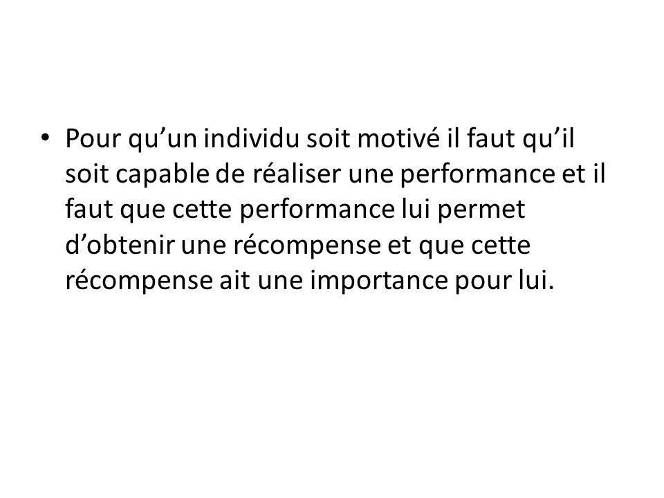 Pour qu'un individu soit motivé il faut qu'il soit capable de réaliser une performance et il faut que cette performance lui permet d'obtenir une récom