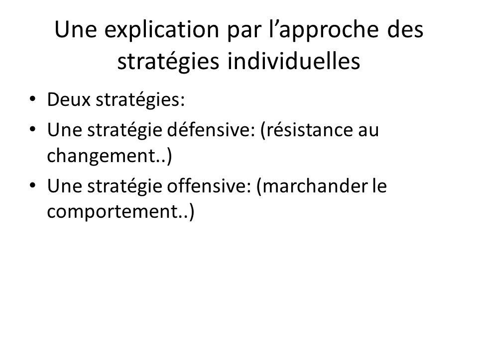 Une explication par l'approche des stratégies individuelles Deux stratégies: Une stratégie défensive: (résistance au changement..) Une stratégie offen