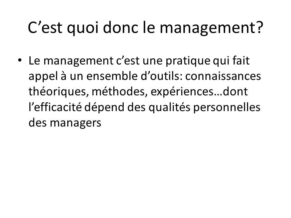 C'est quoi donc le management? Le management c'est une pratique qui fait appel à un ensemble d'outils: connaissances théoriques, méthodes, expériences