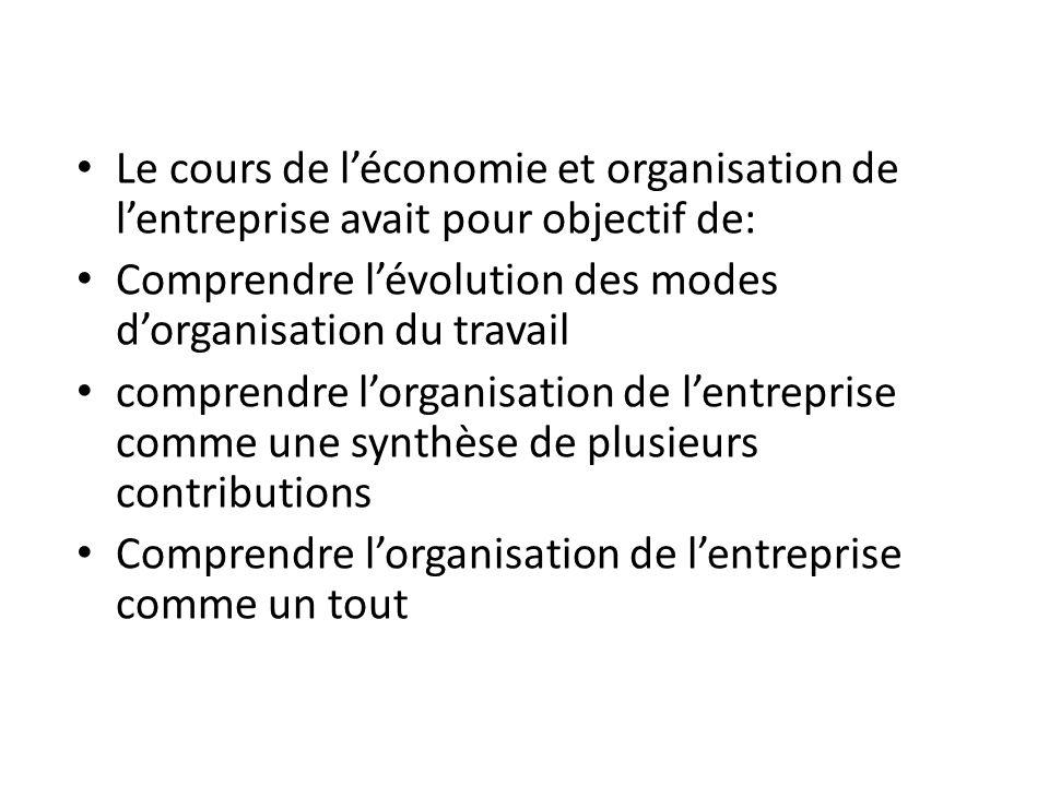 Le cours de l'économie et organisation de l'entreprise avait pour objectif de: Comprendre l'évolution des modes d'organisation du travail comprendre l