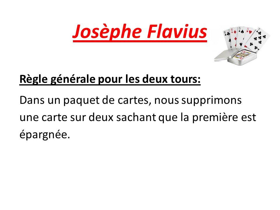 Josèphe Flavius Règle générale pour les deux tours: Dans un paquet de cartes, nous supprimons une carte sur deux sachant que la première est épargnée.