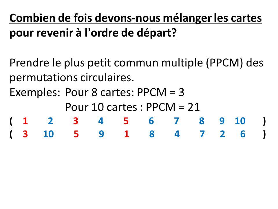 Combien de fois devons-nous mélanger les cartes pour revenir à l'ordre de départ? Prendre le plus petit commun multiple (PPCM) des permutations circul