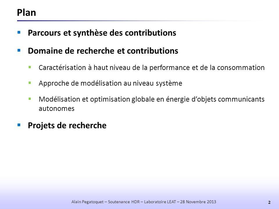 Résultats d'Estimation  Estimation de la performance 13 Alain Pegatoquet – Soutenance HDR – Laboratoire LEAT – 28 Novembre 2013  Estimations précises compte tenu du niveau d'abstraction (<20%)  Optimisme de l'estimation (probablement dû au modèle de cache et à l'OS).