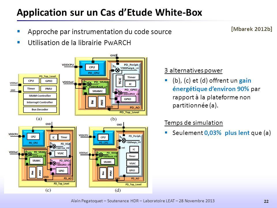 Application sur un Cas d'Etude White-Box  Approche par instrumentation du code source  Utilisation de la librairie PwARCH 22 Alain Pegatoquet – Sout