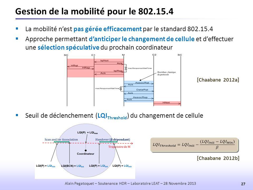Gestion de la mobilité pour le 802.15.4  La mobilité n'est pas gérée efficacement par le standard 802.15.4  Approche permettant d'anticiper le chang