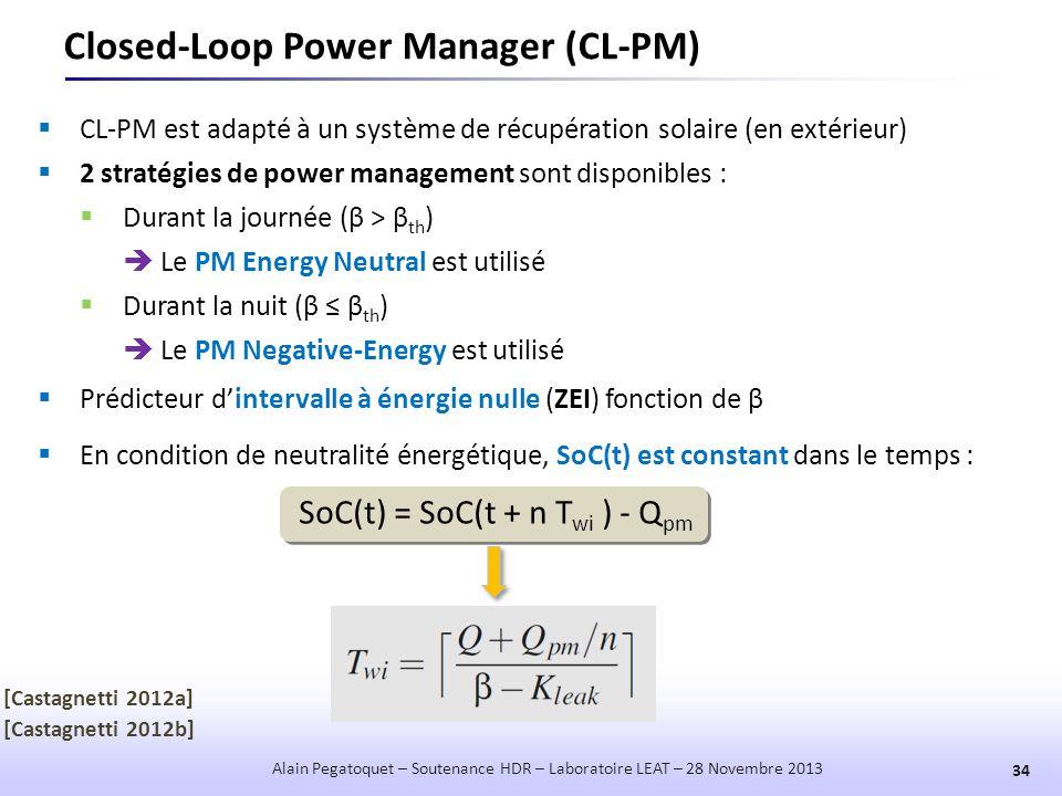 Closed-Loop Power Manager (CL-PM) 34 Alain Pegatoquet – Soutenance HDR – Laboratoire LEAT – 28 Novembre 2013  CL-PM est adapté à un système de récupé
