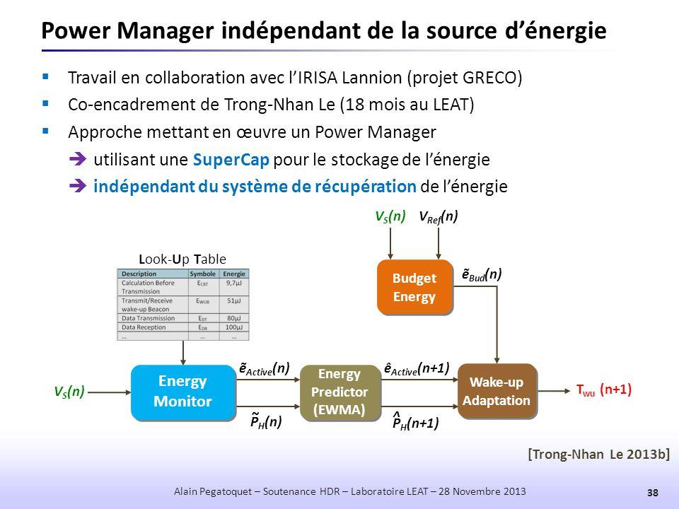 Power Manager indépendant de la source d'énergie 38 Alain Pegatoquet – Soutenance HDR – Laboratoire LEAT – 28 Novembre 2013  Travail en collaboration