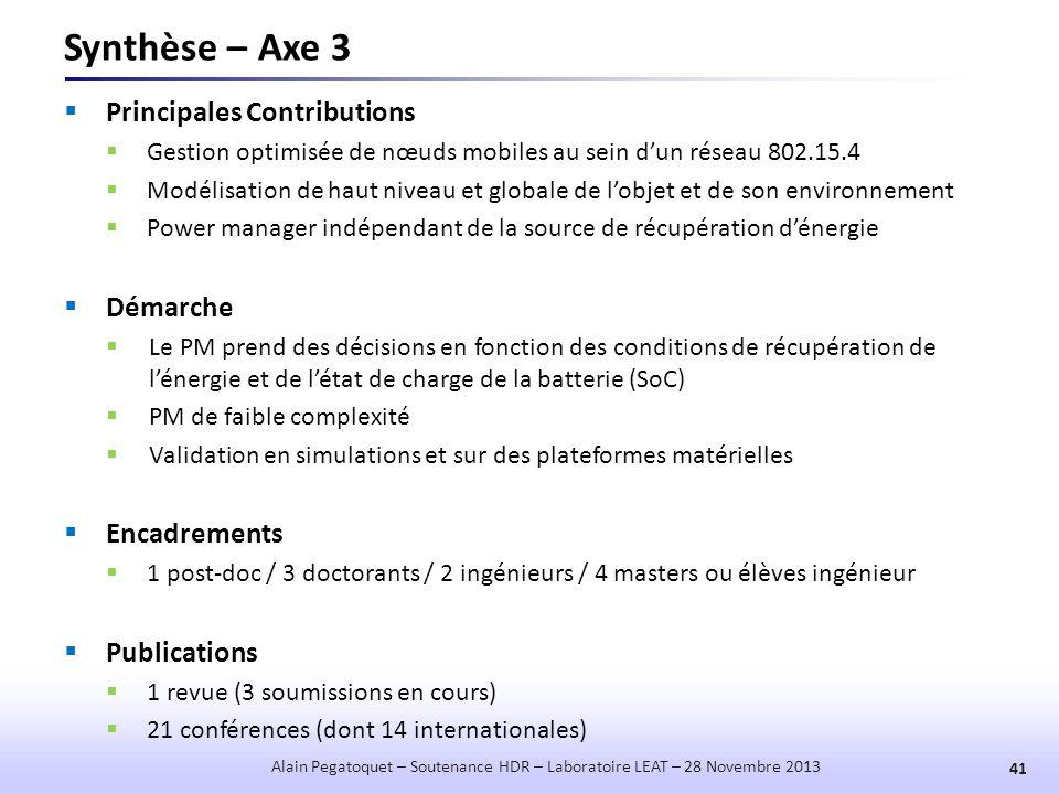 Synthèse – Axe 3  Principales Contributions  Gestion optimisée de nœuds mobiles au sein d'un réseau 802.15.4  Modélisation de haut niveau et global