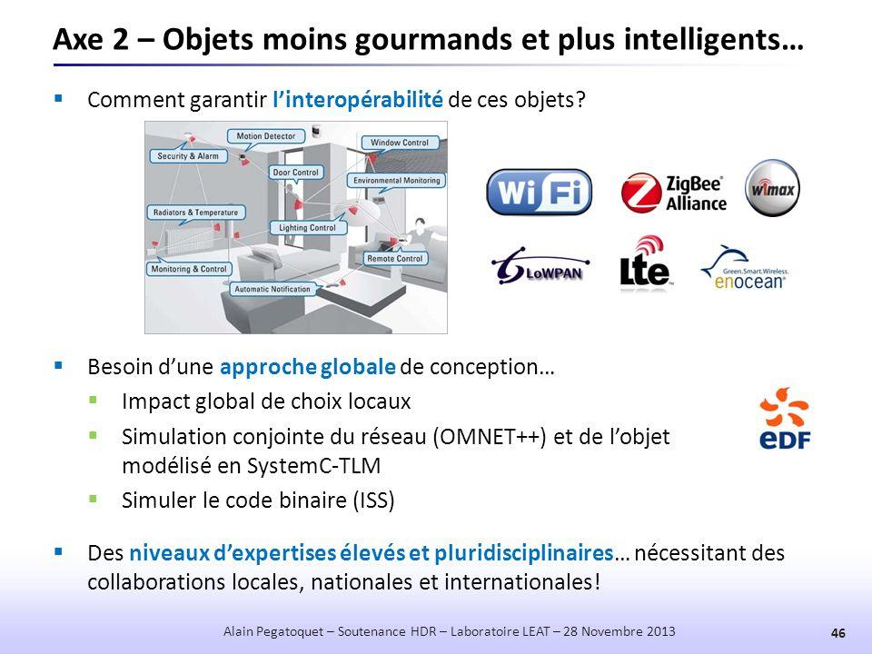 Axe 2 – Objets moins gourmands et plus intelligents…  Comment garantir l'interopérabilité de ces objets? 46 Alain Pegatoquet – Soutenance HDR – Labor