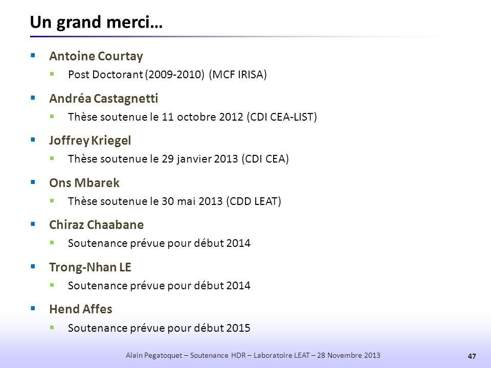 Un grand merci…  Antoine Courtay  Post Doctorant (2009-2010) (MCF IRISA)  Andréa Castagnetti  Thèse soutenue le 11 octobre 2012 (CDI CEA-LIST)  J