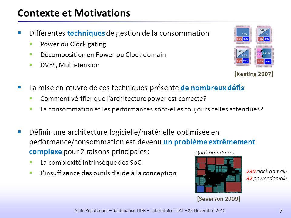Power Manager indépendant de la source d'énergie 38 Alain Pegatoquet – Soutenance HDR – Laboratoire LEAT – 28 Novembre 2013  Travail en collaboration avec l'IRISA Lannion (projet GRECO)  Co-encadrement de Trong-Nhan Le (18 mois au LEAT) T wu (n+1) V S (n) Energy Predictor (EWMA) Look-Up Table Energy Monitor ẽ Active (n) P H (n) ~ ê Active (n+1) P H (n+1) ^ Wake-up Adaptation V S (n)V Ref (n) ẽ Bud (n) Budget Energy  Approche mettant en œuvre un Power Manager  utilisant une SuperCap pour le stockage de l'énergie  indépendant du système de récupération de l'énergie [Trong-Nhan Le 2013b]