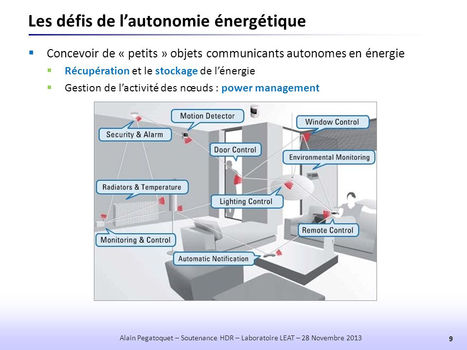 Les défis de l'autonomie énergétique  Concevoir de « petits » objets communicants autonomes en énergie  Récupération et le stockage de l'énergie  G
