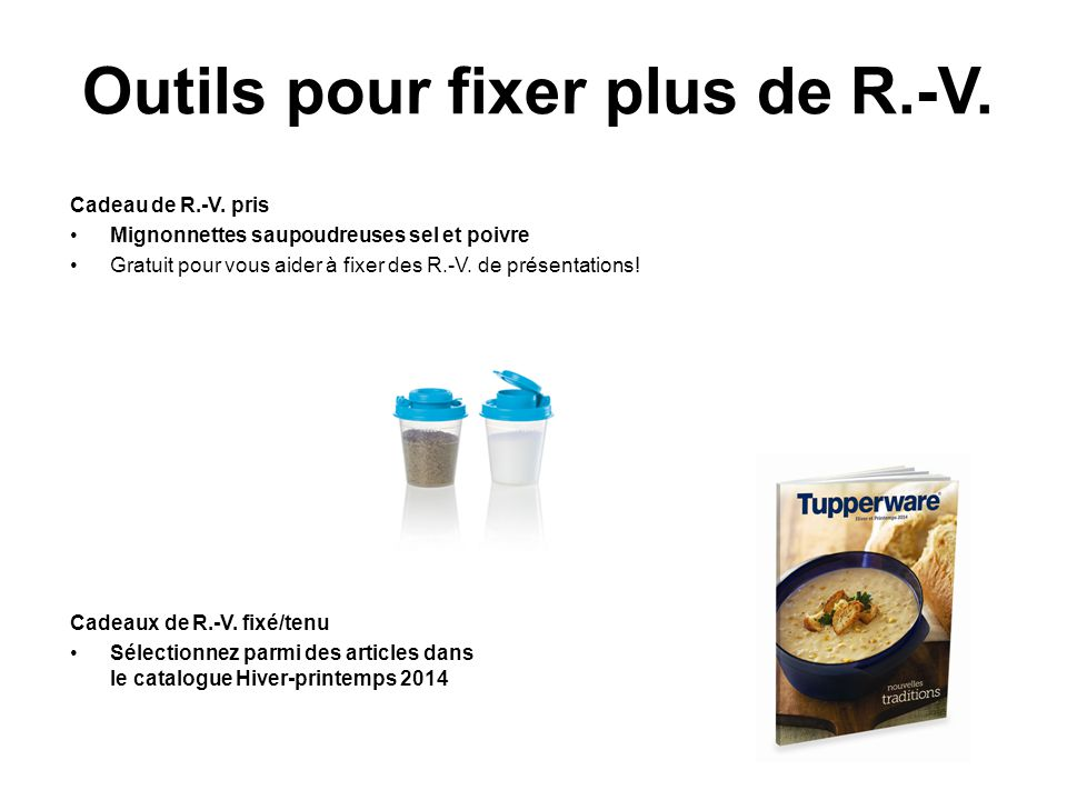 Outils pour fixer plus de R.-V. Cadeau de R.-V. pris Mignonnettes saupoudreuses sel et poivre Gratuit pour vous aider à fixer des R.-V. de présentatio