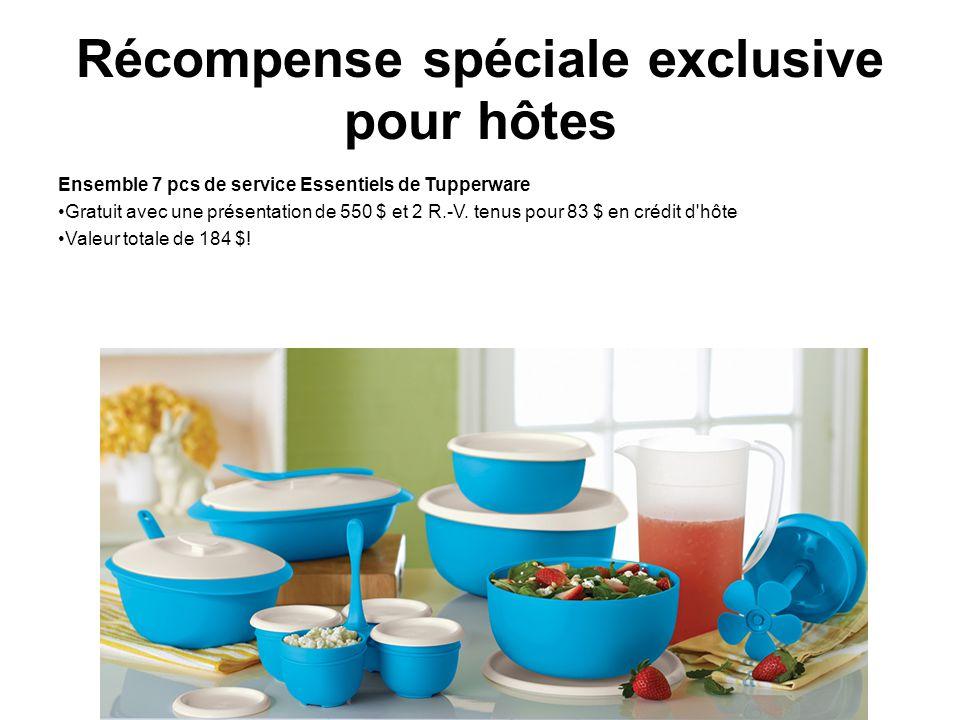 Récompense spéciale exclusive pour hôtes Ensemble 7 pcs de service Essentiels de Tupperware Gratuit avec une présentation de 550 $ et 2 R.-V. tenus po
