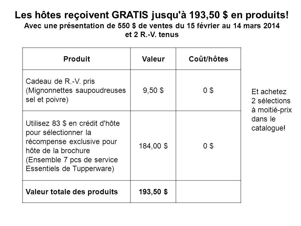 Les hôtes reçoivent GRATIS jusqu'à 193,50 $ en produits! Avec une présentation de 550 $ de ventes du 15 février au 14 mars 2014 et 2 R.-V. tenus Produ
