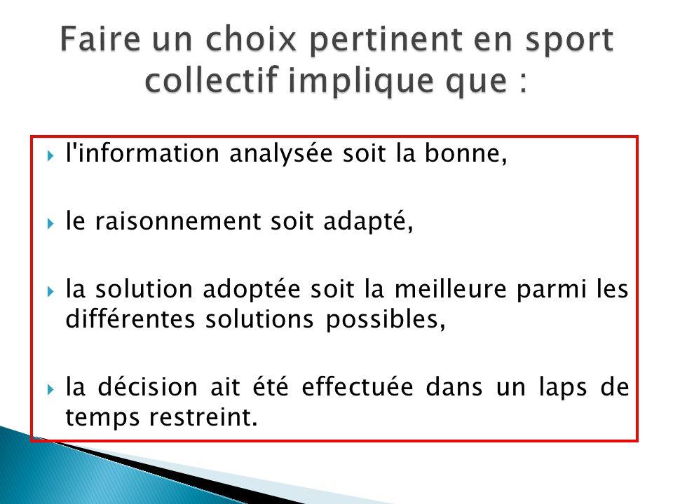  l'information analysée soit la bonne,  le raisonnement soit adapté,  la solution adoptée soit la meilleure parmi les différentes solutions possibl