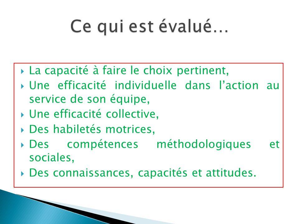  La capacité à faire le choix pertinent,  Une efficacité individuelle dans l'action au service de son équipe,  Une efficacité collective,  Des hab