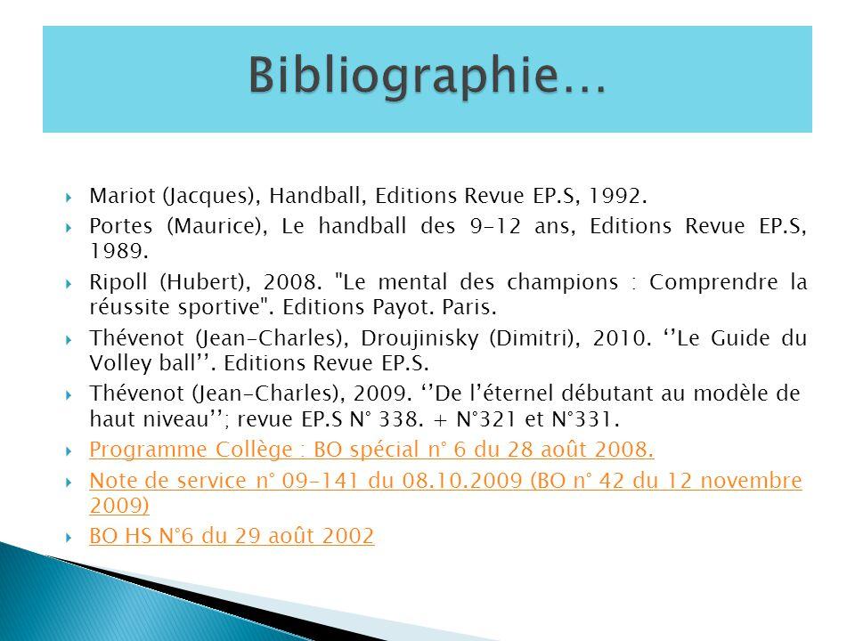  Mariot (Jacques), Handball, Editions Revue EP.S, 1992.  Portes (Maurice), Le handball des 9-12 ans, Editions Revue EP.S, 1989.  Ripoll (Hubert), 2