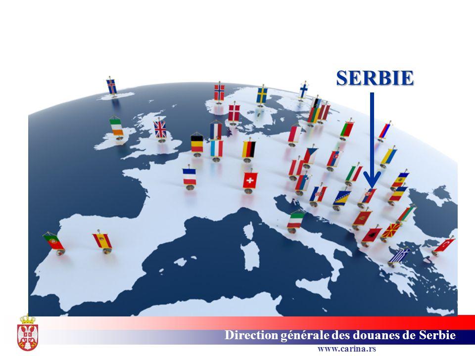 Direction générale des douanes de Serbie www.carina.rs Direction Générale des Douanes 15 bureaux de douane 72 postes de douane 70 points de passage de la frontière Direction Générale des Douanes 15 bureaux de douane 72 postes de douane 70 points de passage de la frontière