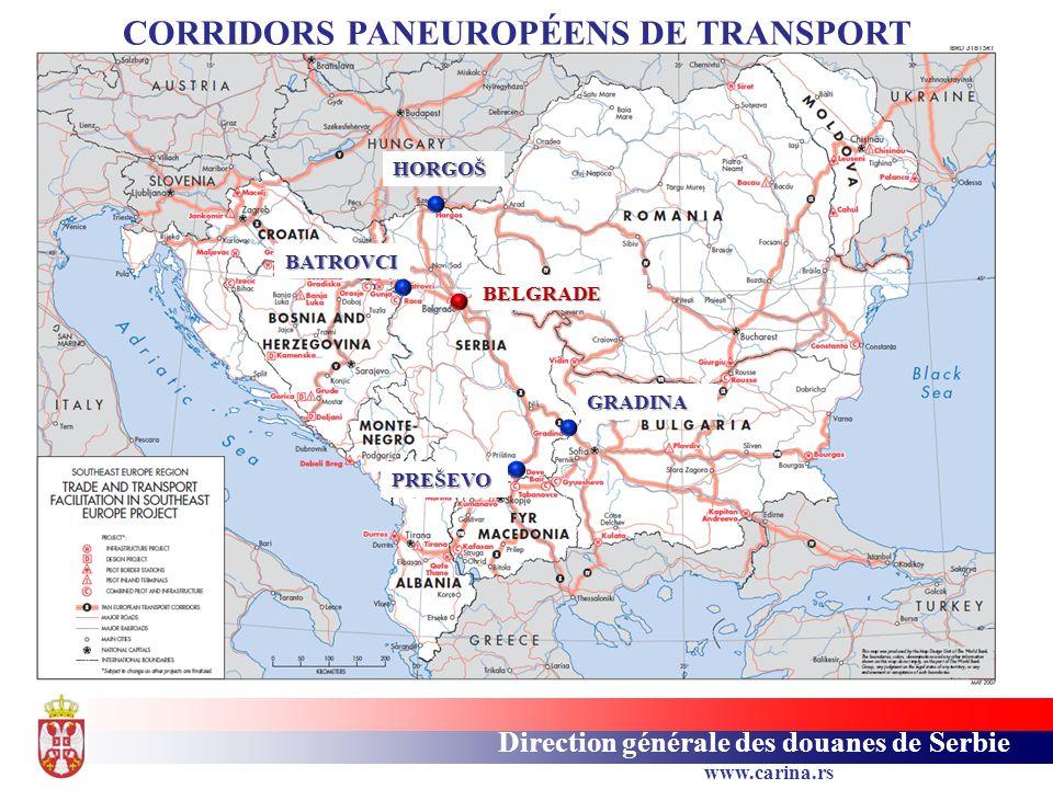 Direction générale des douanes de Serbie www.carina.rs HORGOŠ GRADINA PREŠEVO BATROVCI BELGRADE CORRIDORS PANEUROPÉENS DE TRANSPORT
