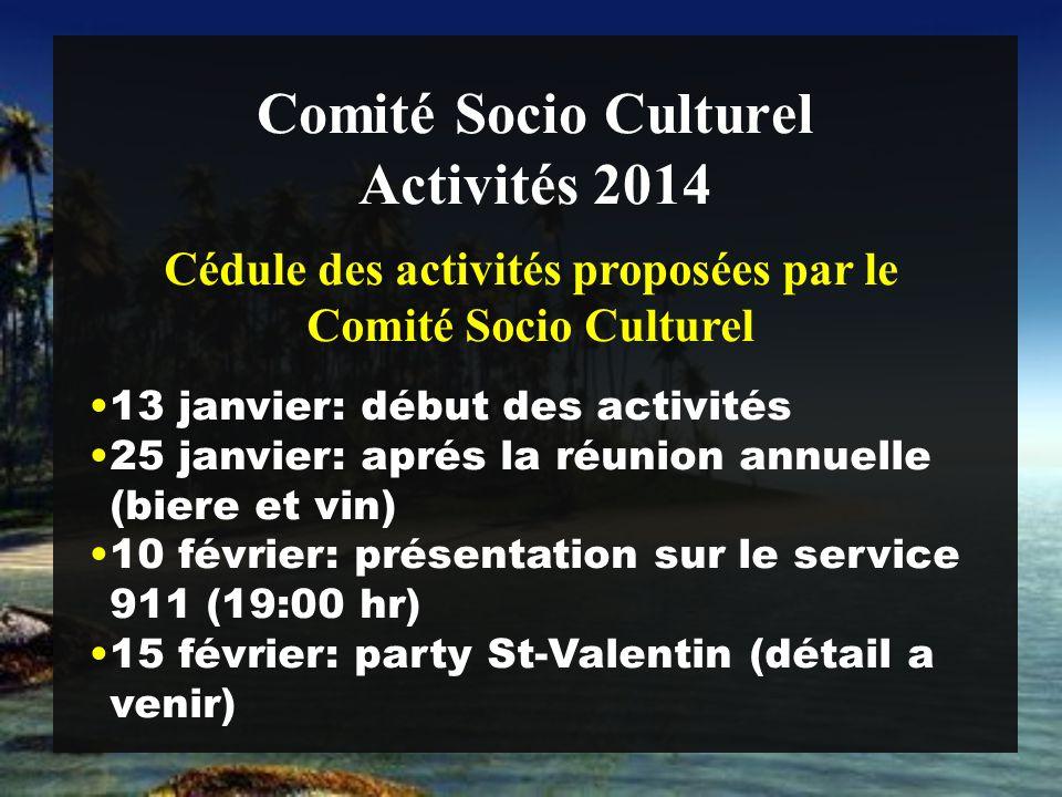 Comité Socio Culturel 13 janvier: début des activités 25 janvier: aprés la réunion annuelle (biere et vin) 10 février: présentation sur le service 911