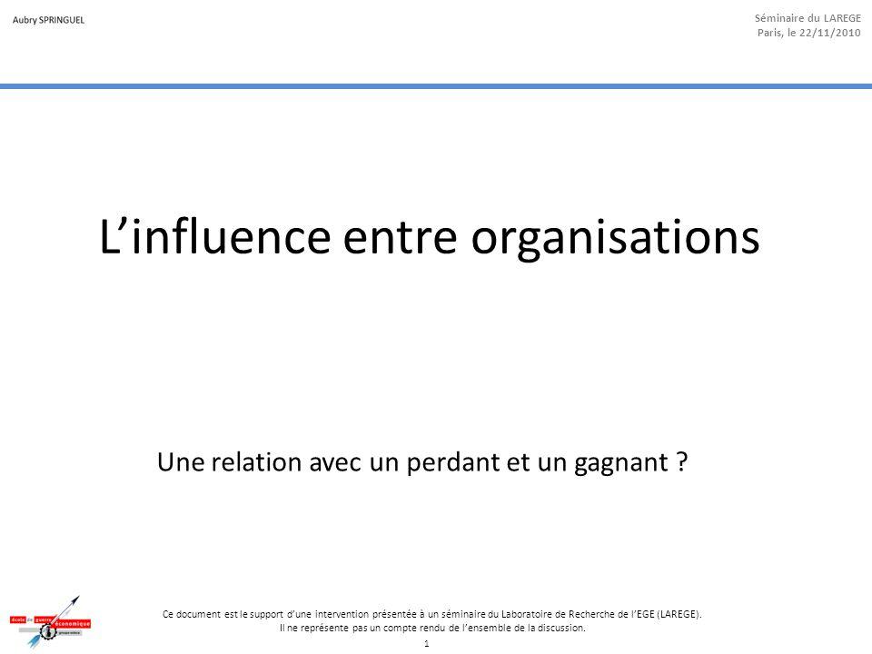 1 Séminaire du LAREGE Paris, le 22/11/2010 Ce document est le support d'une intervention présentée à un séminaire du Laboratoire de Recherche de l'EGE