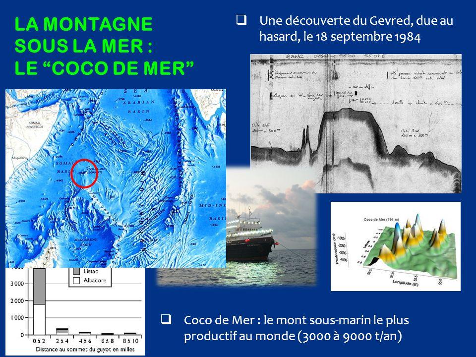 """LA MONTAGNE SOUS LA MER : LE """"COCO DE MER""""  Une découverte du Gevred, due au hasard, le 18 septembre 1984  Coco de Mer : le mont sous-marin le plus"""