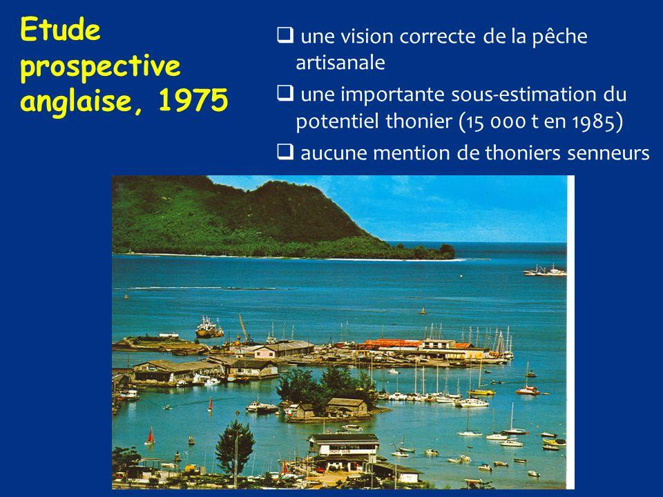  une vision correcte de la pêche artisanale  une importante sous-estimation du potentiel thonier (15 000 t en 1985)  aucune mention de thoniers sen