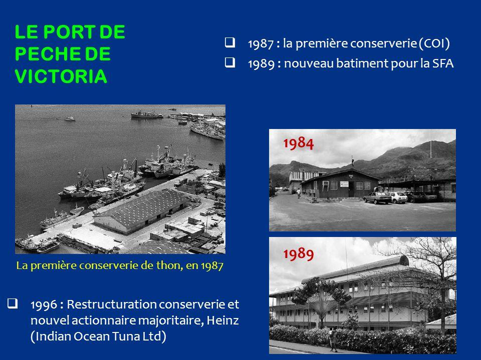 LE PORT DE PECHE DE VICTORIA  1987 : la première conserverie (COI)  1989 : nouveau batiment pour la SFA La première conserverie de thon, en 1987  1