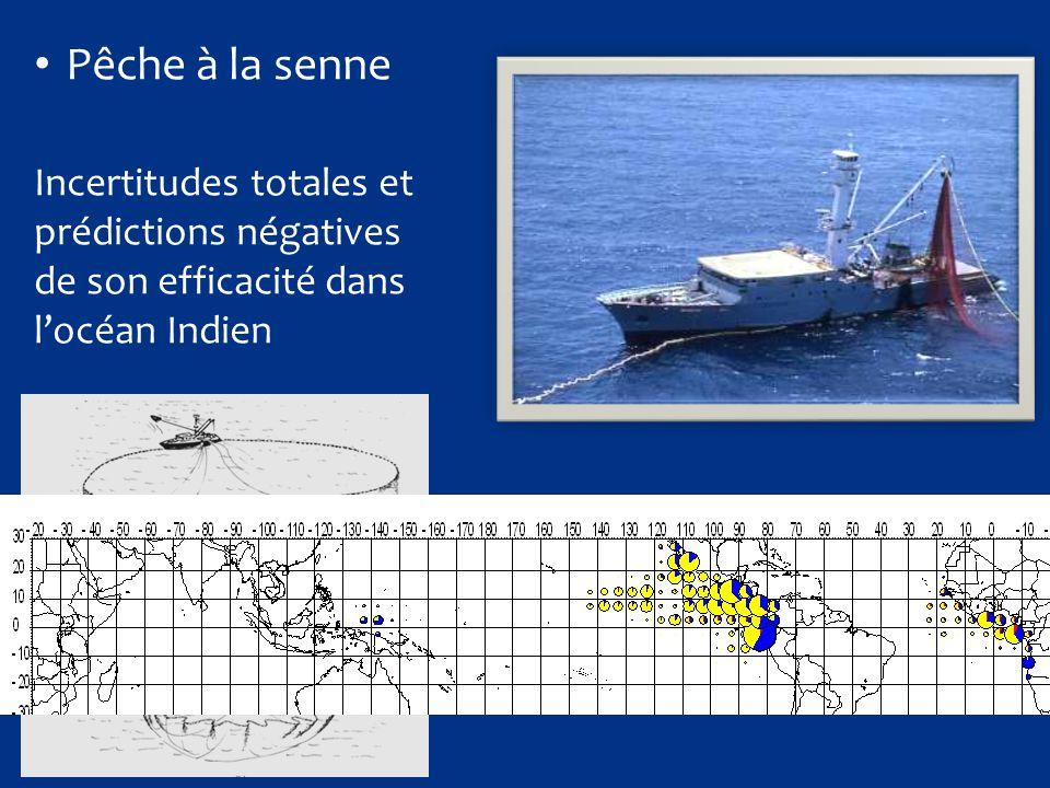 Temps en mer156 j Captures1443 t (64% albac) % BL/BA47 / 49 Rendement10.5 t/j (vs 8.9 Atl) Nb de calées69 Prise par calée21 t  Succès incontestable…  mais les performances en mousson de sud est étaient inconnues !