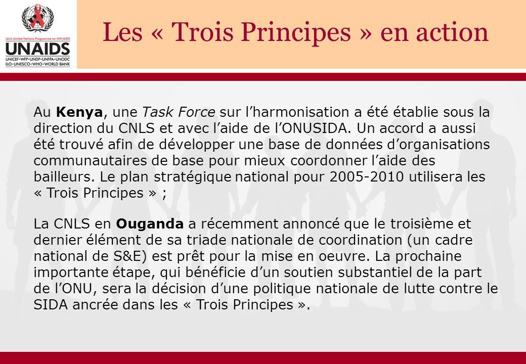 Les « Trois Principes » en action Au Kenya, une Task Force sur l'harmonisation a été établie sous la direction du CNLS et avec l'aide de l'ONUSIDA. Un
