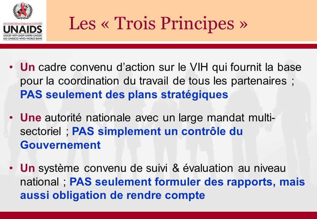 Les « Trois Principes » Un cadre convenu d'action sur le VIH qui fournit la base pour la coordination du travail de tous les partenaires ; PAS seuleme