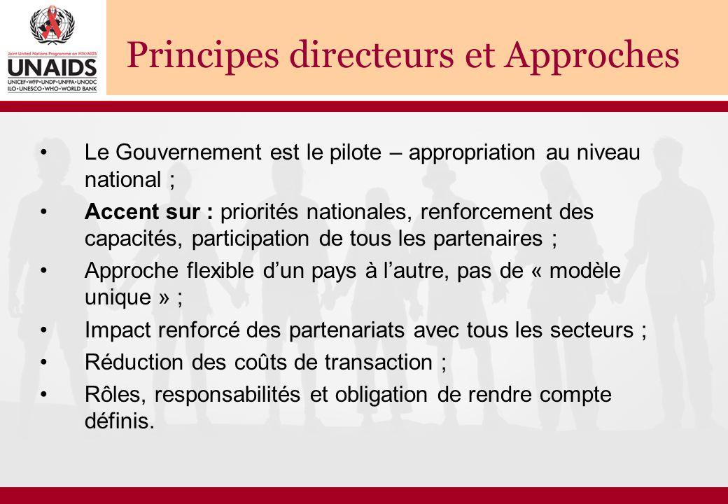 Principes directeurs et Approches Le Gouvernement est le pilote – appropriation au niveau national ; Accent sur : priorités nationales, renforcement d