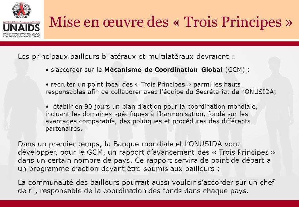 Les principaux bailleurs bilatéraux et multilatéraux devraient : s'accorder sur le Mécanisme de Coordination Global (GCM) ; recruter un point focal des « Trois Principes » parmi les hauts responsables afin de collaborer avec l'équipe du Secrétariat de l'ONUSIDA; établir en 90 jours un plan d'action pour la coordination mondiale, incluant les domaines spécifiques à l'harmonisation, fondé sur les avantages comparatifs, des politiques et procédures des différents partenaires.