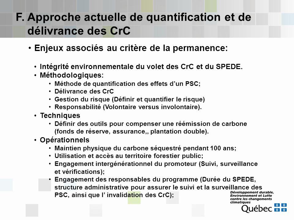F. Approche actuelle de quantification et de délivrance des CrC Enjeux associés au critère de la permanence: Intégrité environnementale du volet des C