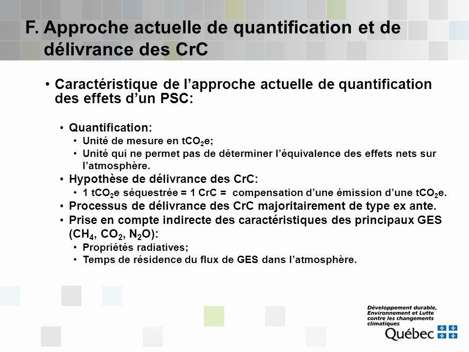 F. Approche actuelle de quantification et de délivrance des CrC Caractéristique de l'approche actuelle de quantification des effets d'un PSC: Quantifi