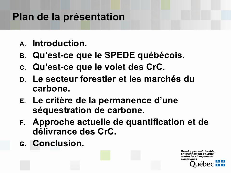 Plan de la présentation A. Introduction. B. Qu'est-ce que le SPEDE québécois. C. Qu'est-ce que le volet des CrC. D. Le secteur forestier et les marché