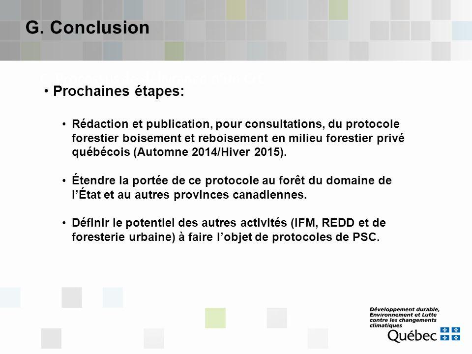 C. Processus de délivrance d'un CrC G. Conclusion Prochaines étapes: Rédaction et publication, pour consultations, du protocole forestier boisement et