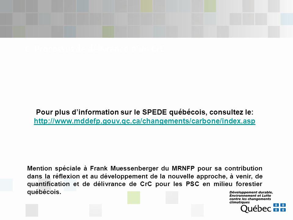 C. Processus de délivrance d'un CrC Pour plus d'information sur le SPEDE québécois, consultez le: http://www.mddefp.gouv.qc.ca/changements/carbone/ind
