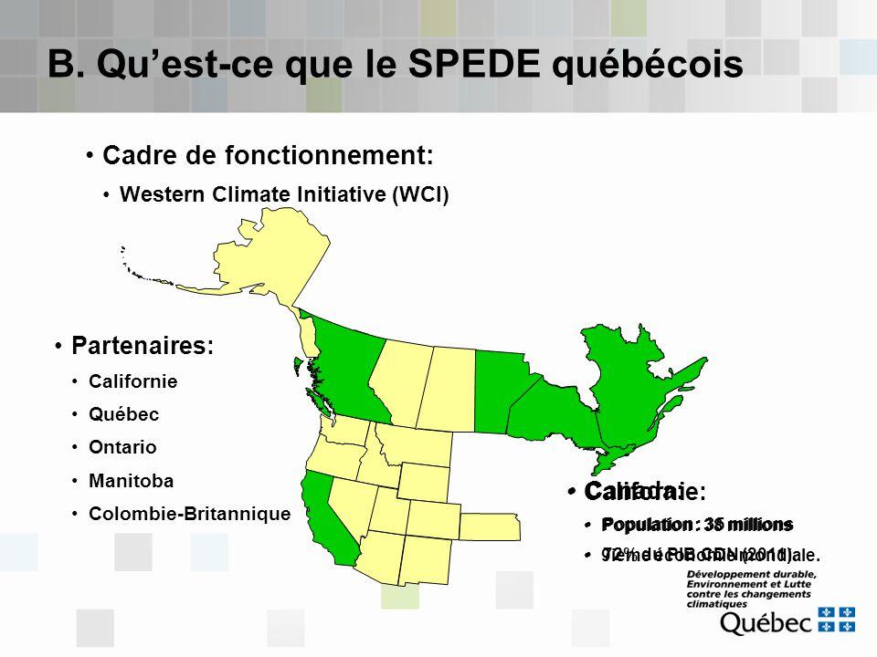 B. Qu'est-ce que le SPEDE québécois Cadre de fonctionnement: Western Climate Initiative (WCI) Partenaires: Californie Québec Ontario Manitoba Colombie