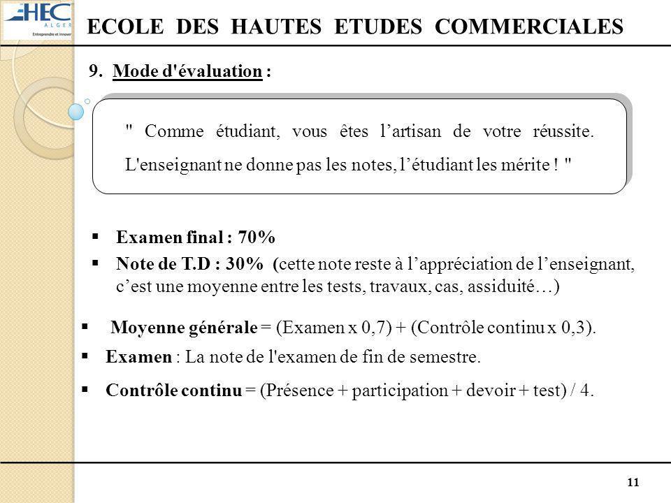 11 ECOLE DES HAUTES ETUDES COMMERCIALES 9. Mode d'évaluation :  Moyenne générale = (Examen x 0,7) + (Contrôle continu x 0,3).  Examen : La note de l