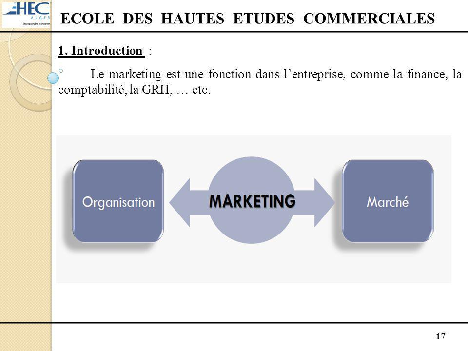 17 ECOLE DES HAUTES ETUDES COMMERCIALES 1. Introduction : Le marketing est une fonction dans l'entreprise, comme la finance, la comptabilité, la GRH,