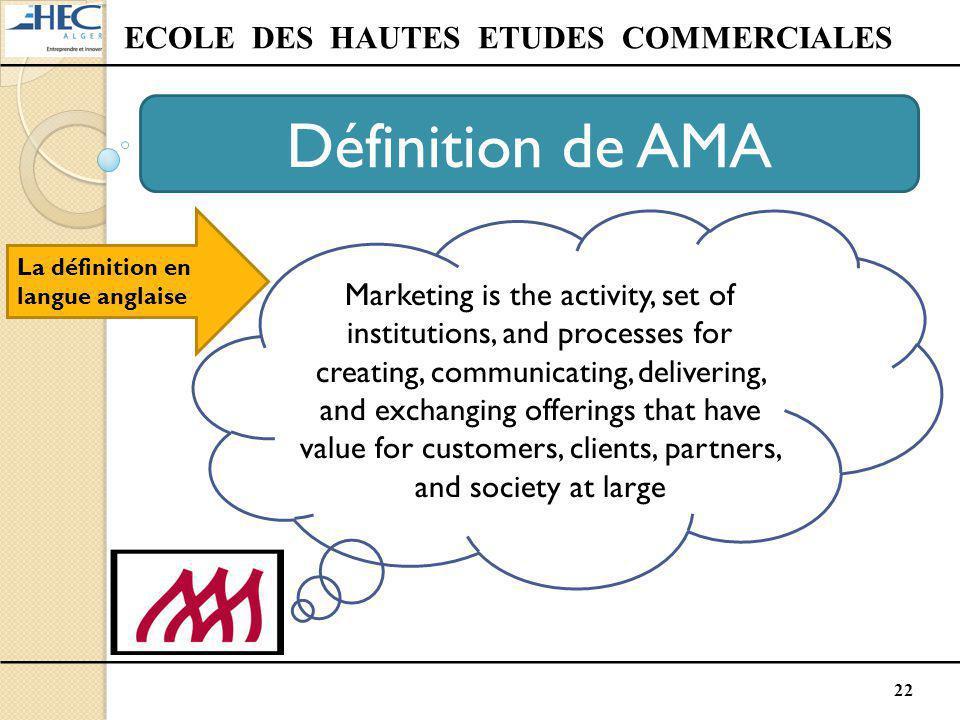 22 ECOLE DES HAUTES ETUDES COMMERCIALES Définition de AMA La définition en langue anglaise Marketing is the activity, set of institutions, and process