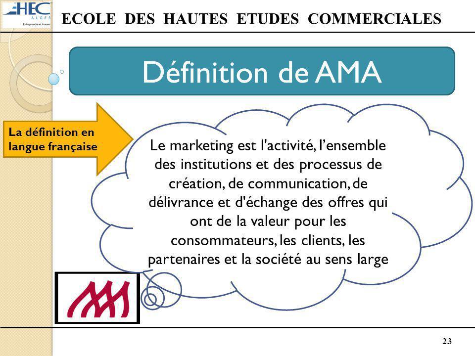 23 ECOLE DES HAUTES ETUDES COMMERCIALES Définition de AMA La définition en langue française Le marketing est l'activité, l'ensemble des institutions e