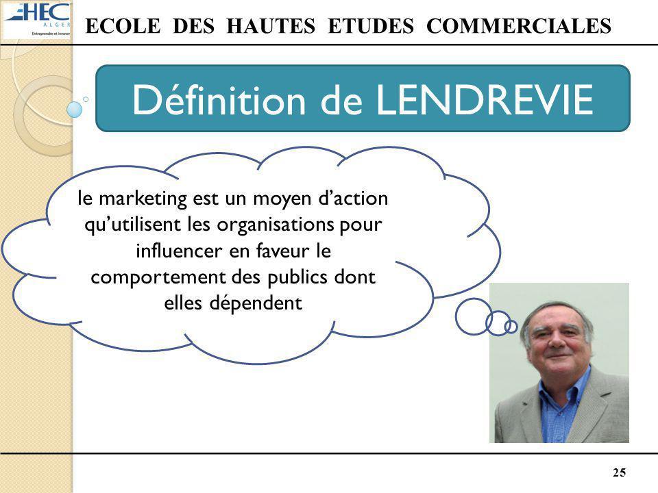 25 ECOLE DES HAUTES ETUDES COMMERCIALES Définition de LENDREVIE le marketing est un moyen d'action qu'utilisent les organisations pour influencer en f
