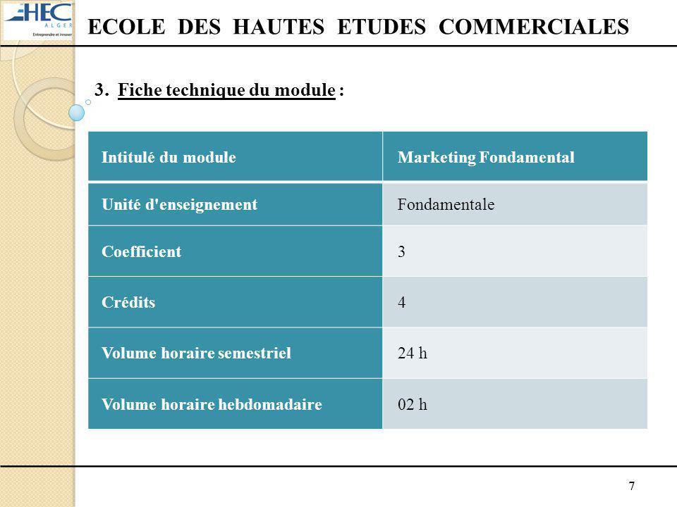 7 ECOLE DES HAUTES ETUDES COMMERCIALES 3. Fiche technique du module : Intitulé du moduleMarketing Fondamental Unité d'enseignementFondamentale Coeffic
