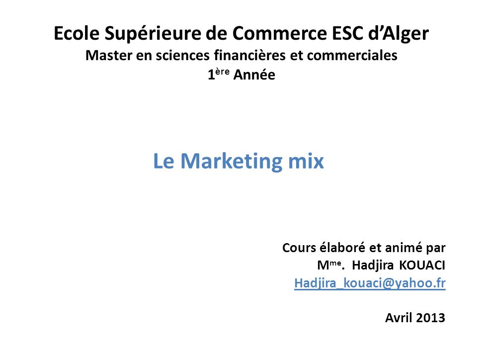 Le mix marketing des services 7 P's