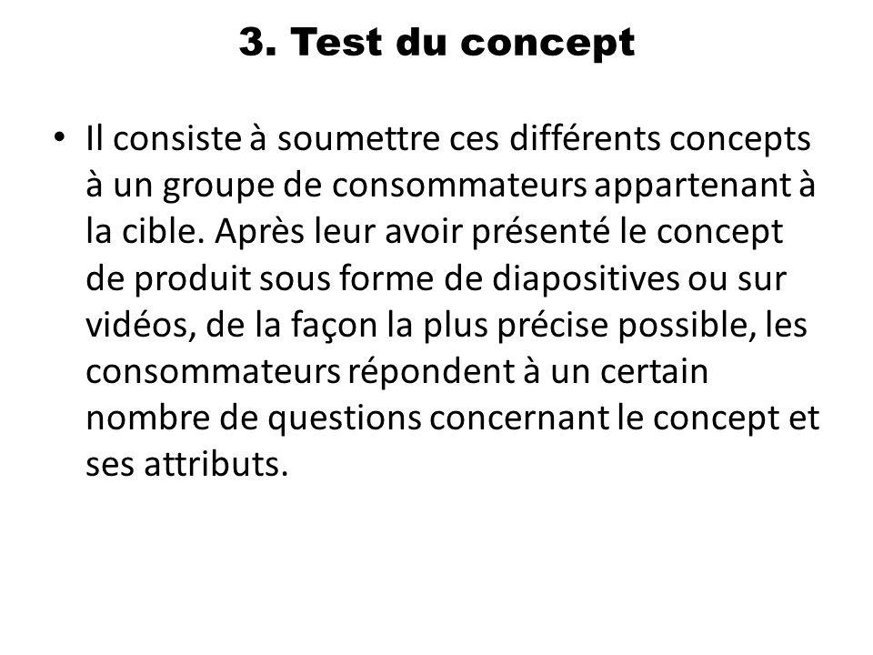 3. Test du concept Il consiste à soumettre ces différents concepts à un groupe de consommateurs appartenant à la cible. Après leur avoir présenté le c