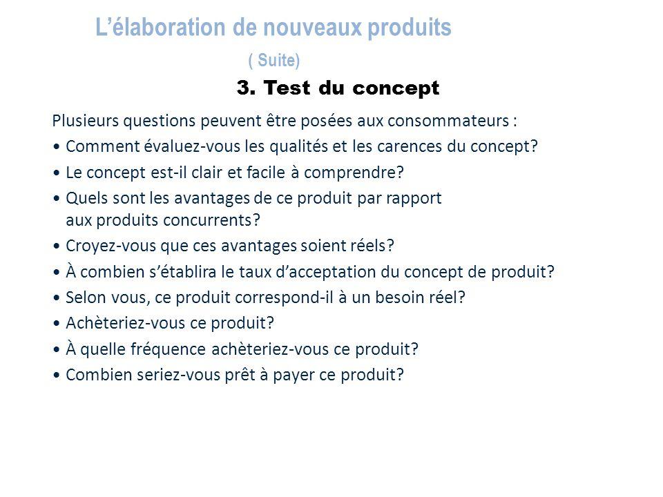 3. Test du concept L'élaboration de nouveaux produits ( Suite) Plusieurs questions peuvent être posées aux consommateurs : Comment évaluez-vous les qu