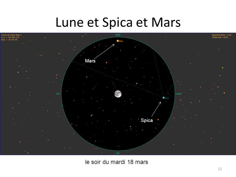 Lune et Spica et Mars 12 Lune Saturne Mercure le soir du mardi 18 mars Alhena Mars Spica